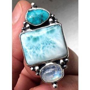 OOAK Larimar, Moonstone, Turquoise Sterling Ring